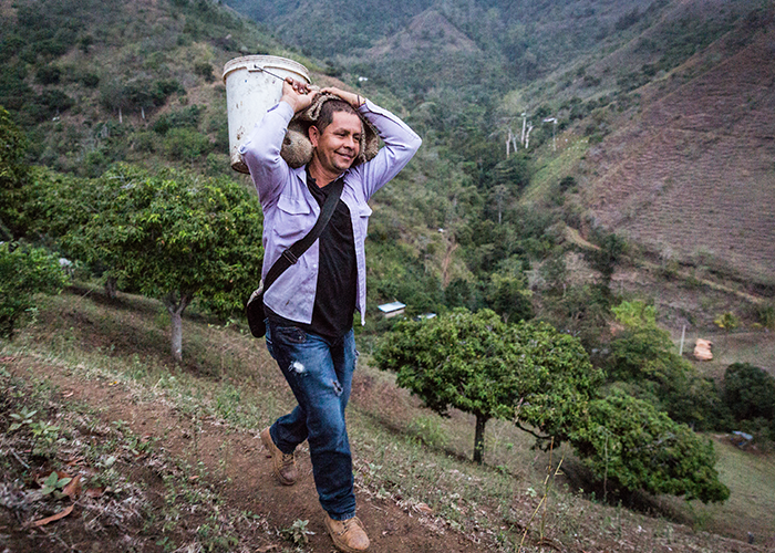 Colombian man carrying a bucket up a mountain.