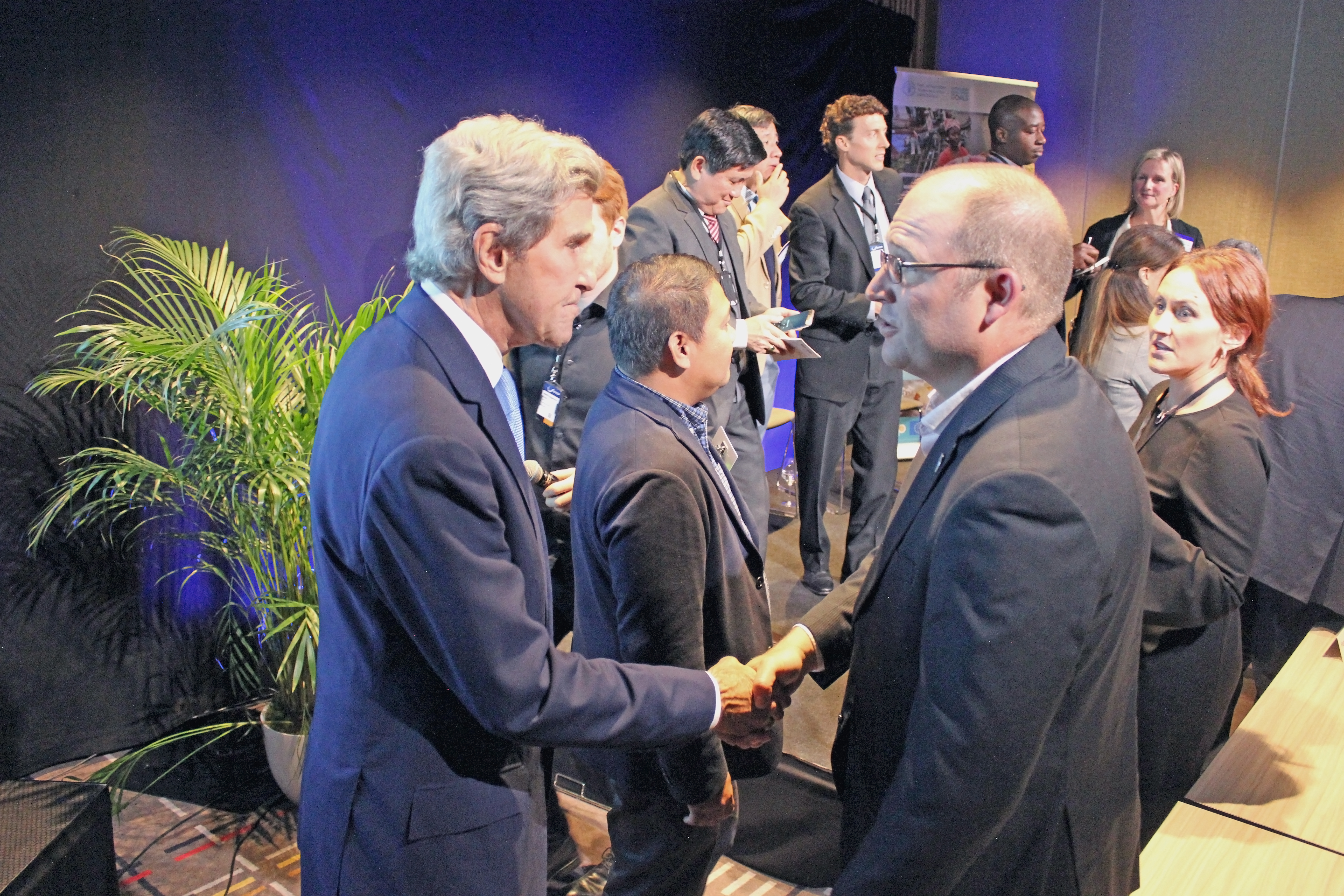 Former Secretary of State John Kerry and Dr. Steve Box, Rare's Managing Director of Fish Forever at Our Ocean Conference in Oslo, Norway; October 2019