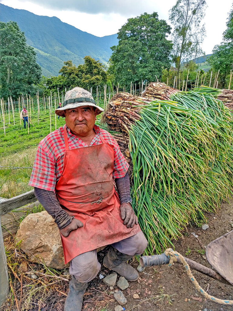 Don Jose Valencia sitting next to his harvest in Colombia.