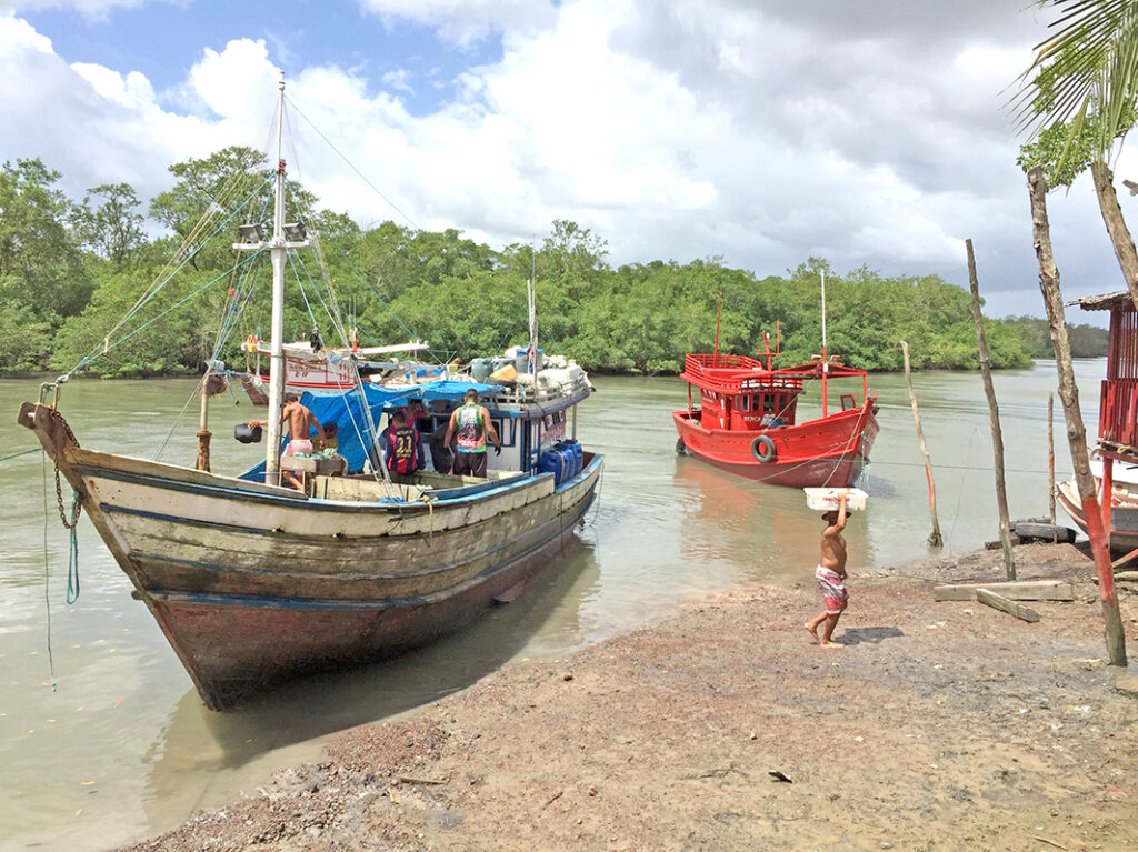 Boats arriving at landing site in Curuçá RESEX with their catch.