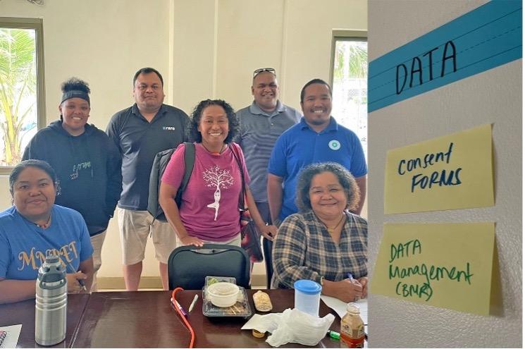 Photo of 7 workshop participants in Palau