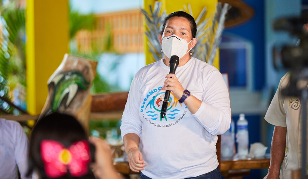 Diana Vasquez, Rare's Mesoamerican Reef Program Director, at the Omoa Campaign Launch, September 2020.